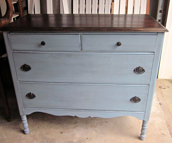 Like The Color Of This With The Brown Top For Master Dresser Vintage Dressers Furniture Rehab Furniture