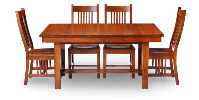 Oak Express Mission 5 Pc Dining Group This Is Our Kitchen Table You Extend It Anywhere From 64 To 80 To An Impressive 96 Wide The Table Top B Bếp Ghế