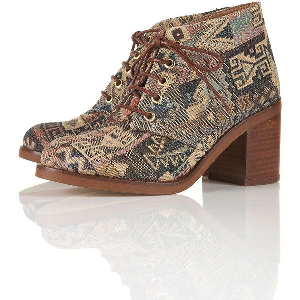 ARTIST Tapestry Heeled Boots (€140) ❤ liked on Polyvore featuring shoes, boots, ankle booties, high heel ankle booties, lace-up high heel bootie, lace up booties, high heel boots and high heel ankle boots