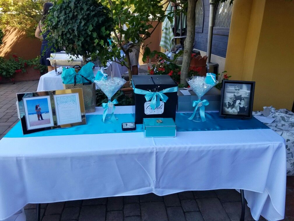 breakfast at tiffanys bridal shower gift table
