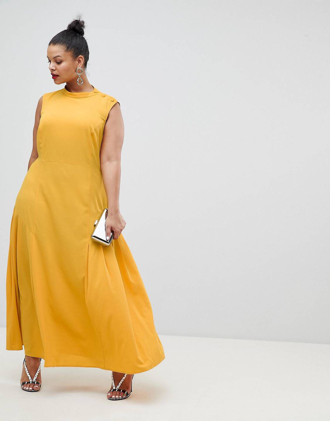 ASOS DESIGN Curve maxi dress with pleat detail - Yellow Asos Curve Manchester Cheap Price rtICsX4j