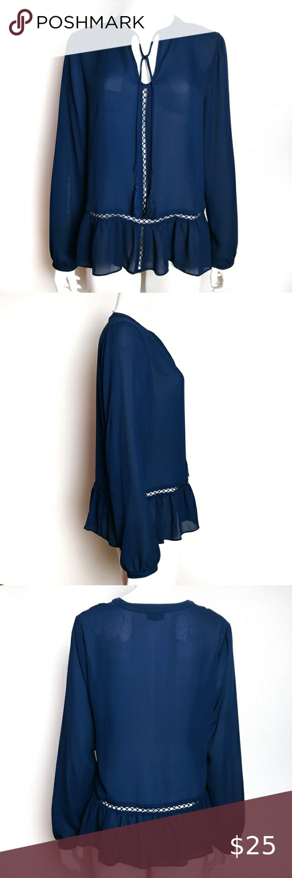 New! a.n.a Navy Blue Keyhole Sheer Work Blouse Lovely long sleeve semi sheer work blouse from a.n.a that's perfect for young professionals. Features: light and airy fabric, keyhole neckline with long tasseled strings to tie a bow or tie loosely, slight peplum look, beautiful rich navy blue color. Very nice and sophisticated business casual top, sad it's not my size. Condition: new w tag, no visible flaws Size: L Chest: 21.5 inches across Length: 25 Arms: 24.5 from shoulder Fabric: polyeste