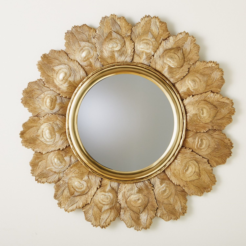 Peacock Feather Mirror Brass Accent Mirrors Round Wall Mirror Mirror