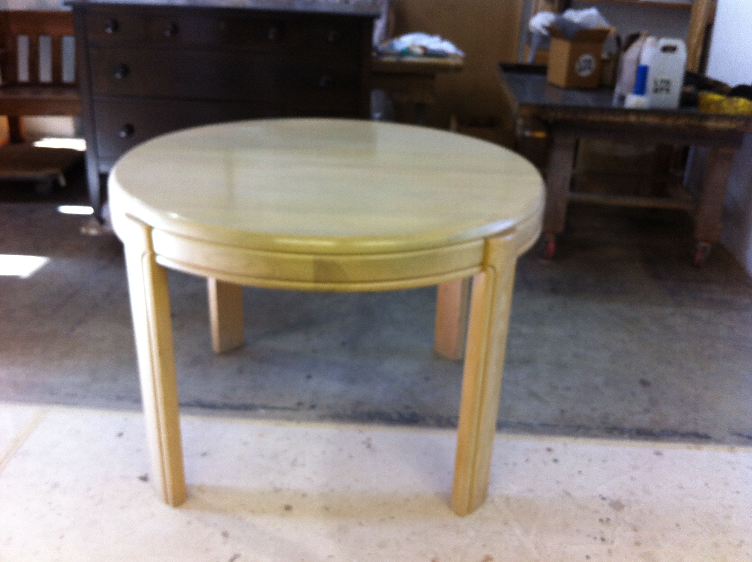 Oak dining table to be refinished by AM Furniture Finishing