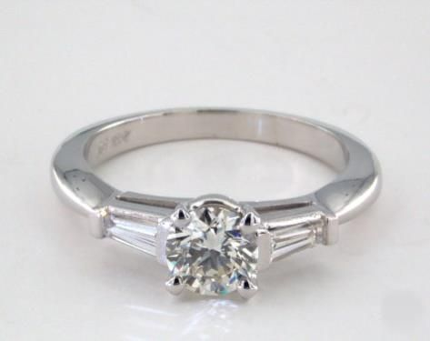 .5ct Side stones Round Engagement Ring White Gold