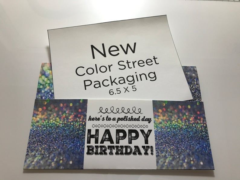 Happy Birthday Holographic Glitter 4x6 5 And 5x6 5 Sizes Included Nail Set Gift Envelope Or Peek A Boo Pdf Gift Envelope Custom Envelopes Holographic Glitter