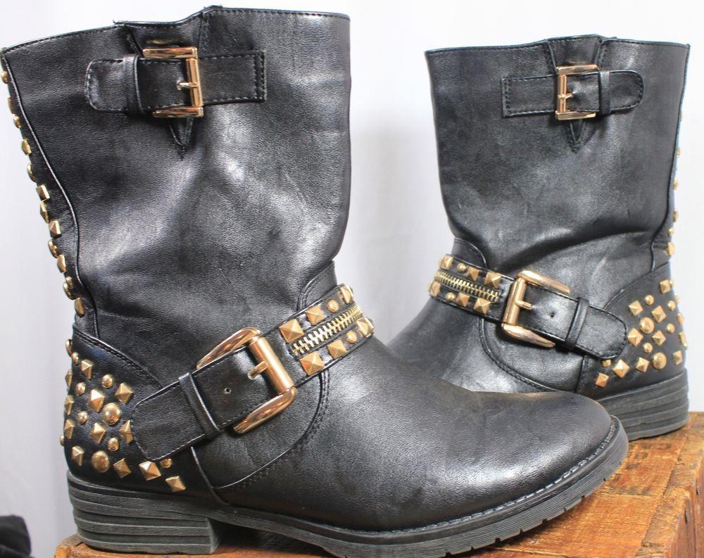 Bongo Harmony Black Vegan Leather Low Heel Zipper Moto Boots Stars Women Shoe 7 Boots Star Boots Womens Boots