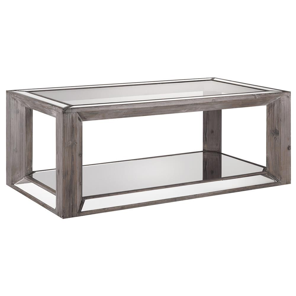 Atelier   Reclaimed Treasures   Rustic Wood And Mirror Coffee Table With  Glass Top/