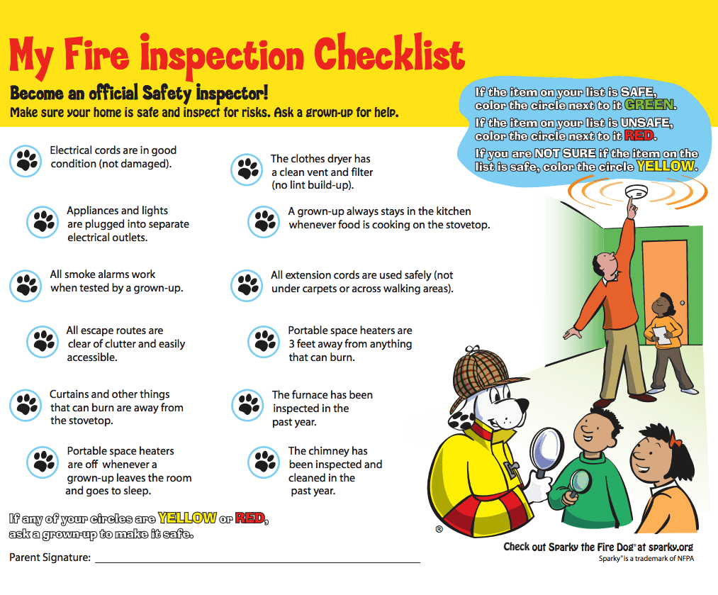 The NFPA and Sparky provide resources for teaching fire ... Fire Safety Checklist Home Plans on nursing home checklist, medical home checklist, home maintenance checklist, winter safety checklist, travel home checklist, cleaning home checklist,