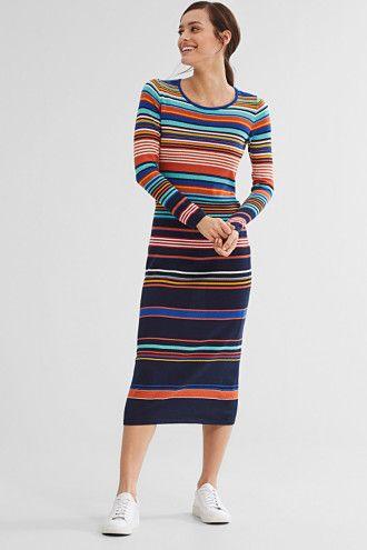 Esprit / Meerkleurige, gebreide jurk, 100% katoen