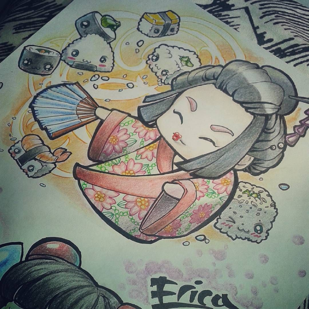 Old pic  Sushi time!  Sketch for a friend   #sketchforfun #sketchtattoo #sketch #sketchbook #tattooidea #tattoosketch #sketchfortattoo #tattoo #tattooart #newschooltattoo #japanesefood #sushi #sushitime #food #kawaiitattoo #kawaii #geisha #geishatattoo #kokeshitattoo #kokeshi #illustration #instaillustration #instartist #art #drawing #draw #disegno