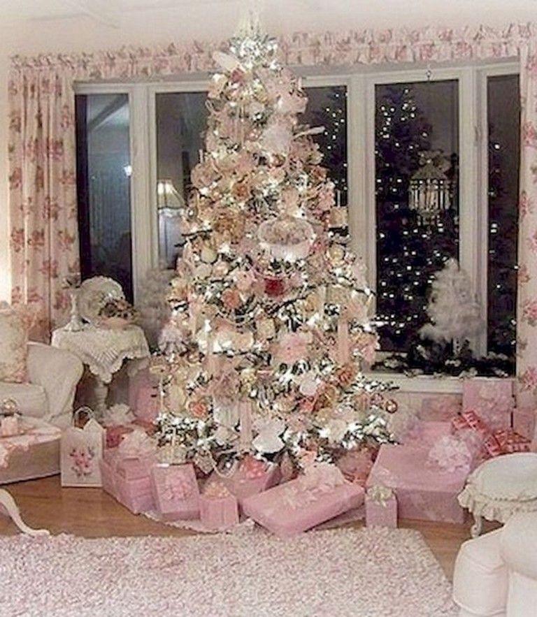 45 Wonderful Shabby Chic Living Room Decor Ideas Livingroom Livingroomideas Shabby Chic Christmas Tree Rose Gold Christmas Shabby Chic Christmas Decorations