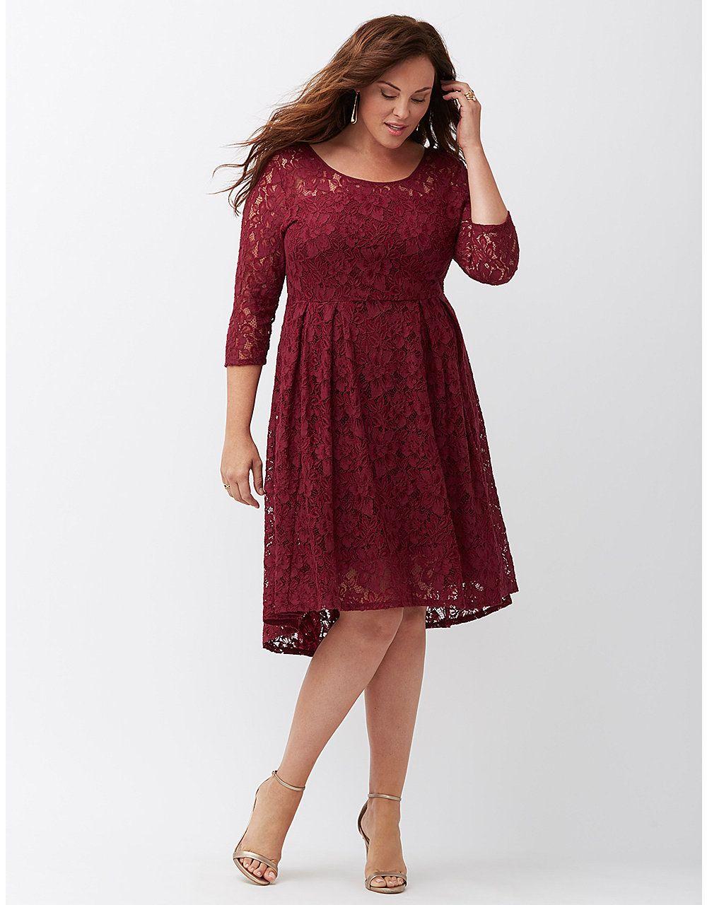 Lane Bryant Fit Flare Dress Lace Burgundy Dress Maroon Lace Dress