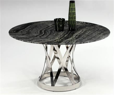 Janet Marble Stainless Steel Dining Table w/Marble Top