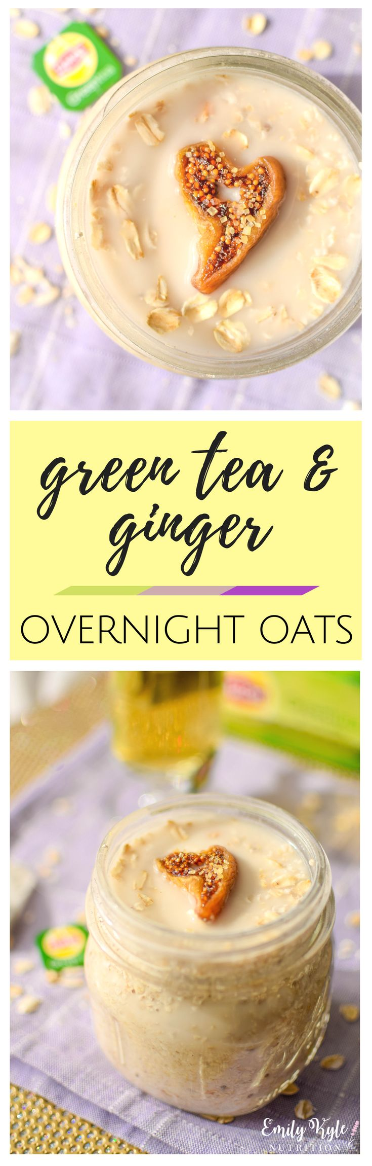 This Lipton® Green Tea & Ginger Overnight Oats recipe takes just 5 minutes to prepare so that you can have a nutritious and delicious breakfast ready to run out the door with you on those busy mornings! #ad via @EmKyleNutrition