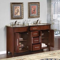 Silkroad Exclusive Double Sink 58 Inch Granite Top Vanity Cabinet I Like This But Not With Two Sinks