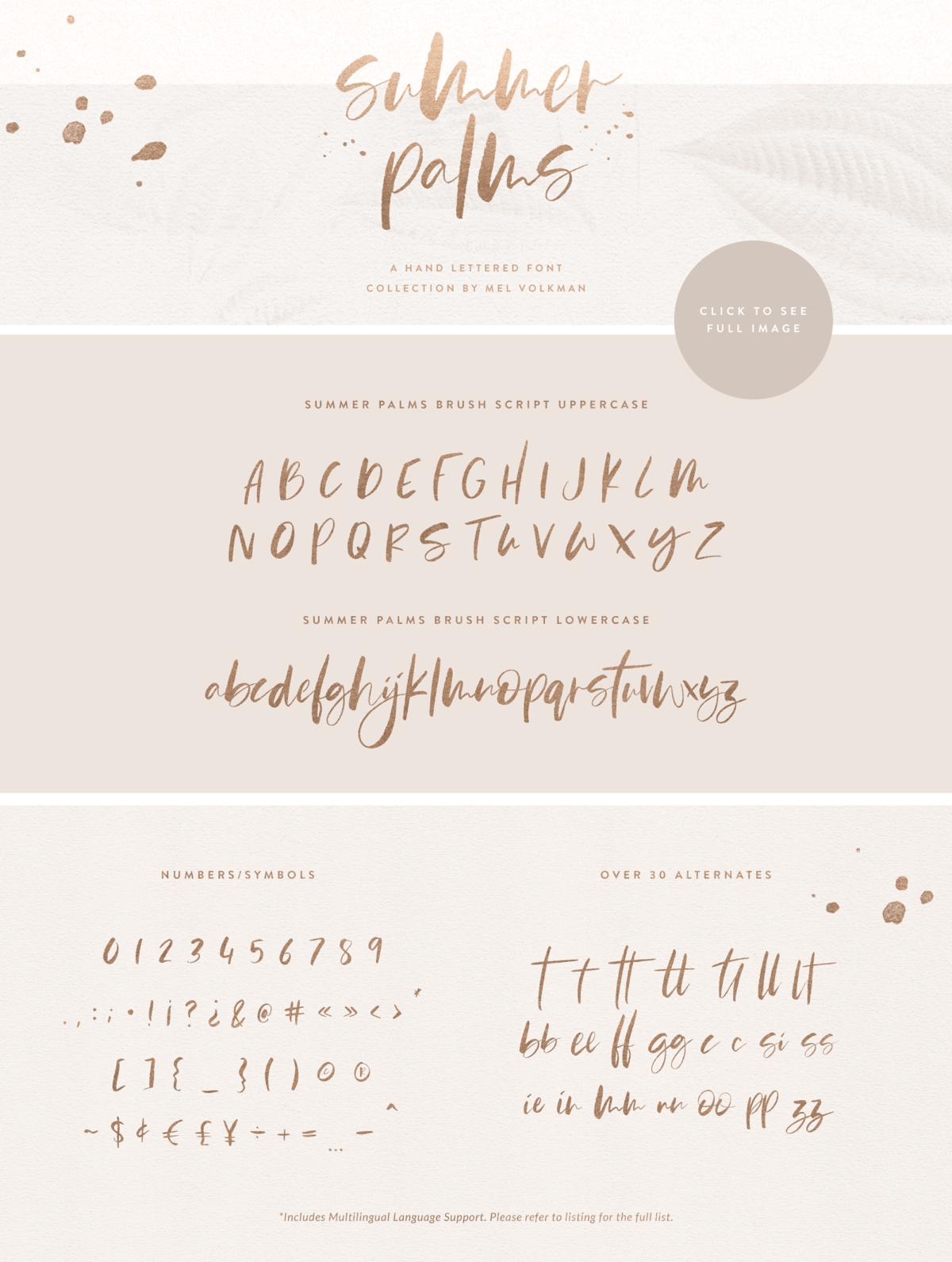 Summer Palms Hand Lettered Brush Script Font By Mel Volkman Hand Lettered Sans Serif Realistic High Res Watercolor Brush Script Fonts Lettering Fonts Lettering