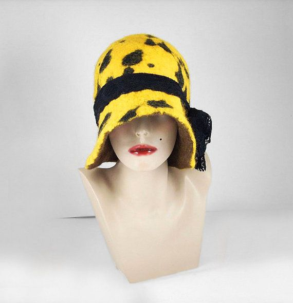 Felted Hat Cloche Hat Flapper hat Designer Hat wearable art art deco ...