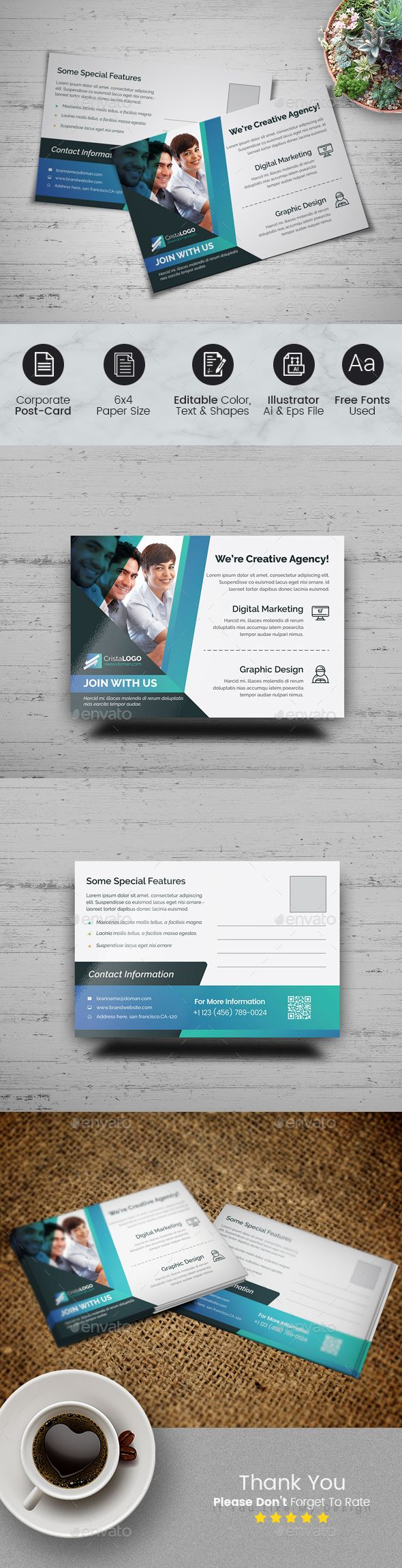 Business Postcard Template | Business postcards, Postcard template ...