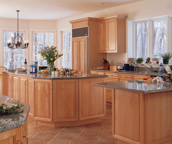 Clean and simple, this Marquis kitchen with light Maple ...