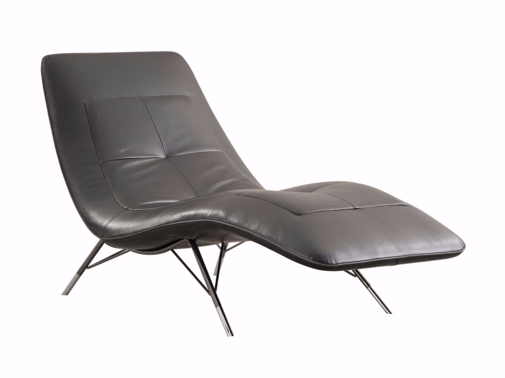 Upholstered Leather Chaise Longue Solaris By Roche Bobois Design Sacha Lakic In 2020 Leather Chaise Padded Lounge Chair Chaise Longue