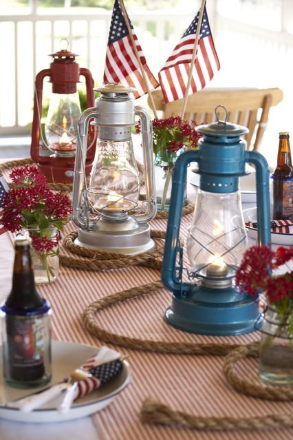 "Oil hurricane lamps, red ticking runner and 12 yards of 3/8"" roping makes a stunning centerpiece!"