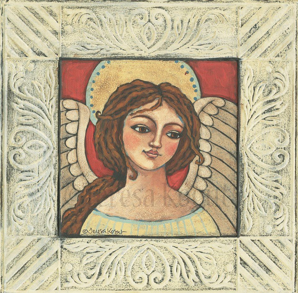 "Painted ""Sierra - Angel of Serenity"" on a rusted tin tile. Love how it looks.....have to paint more..."