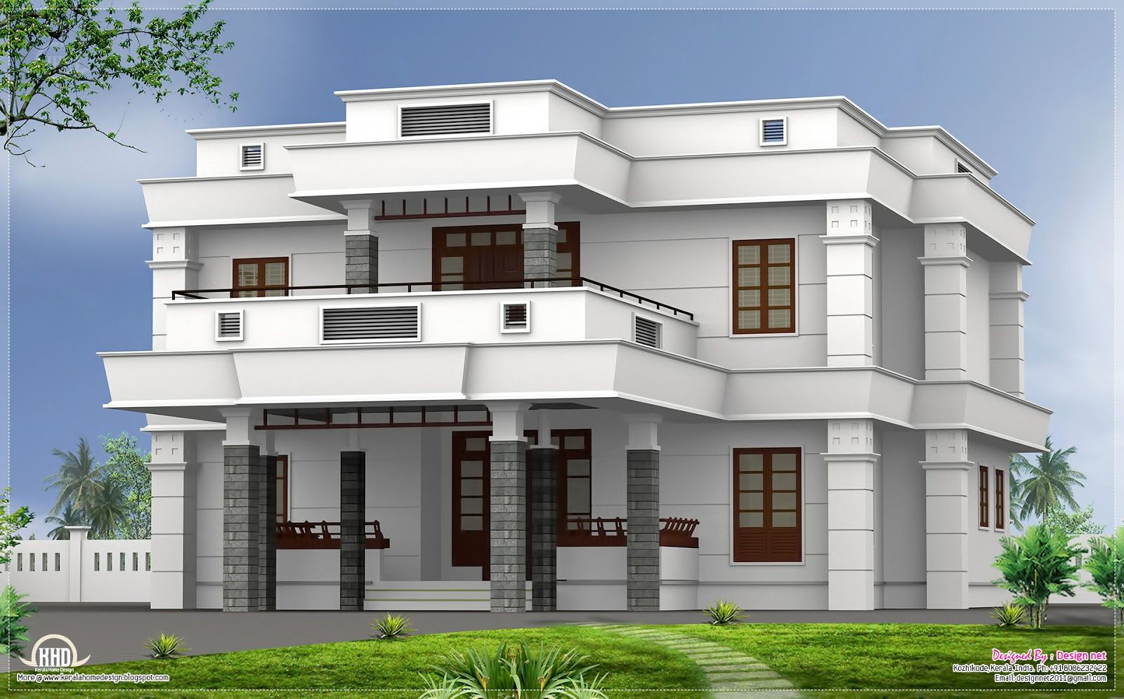 Flat roof homes designs bhk modern flat roof house for Modern villa plans and elevations