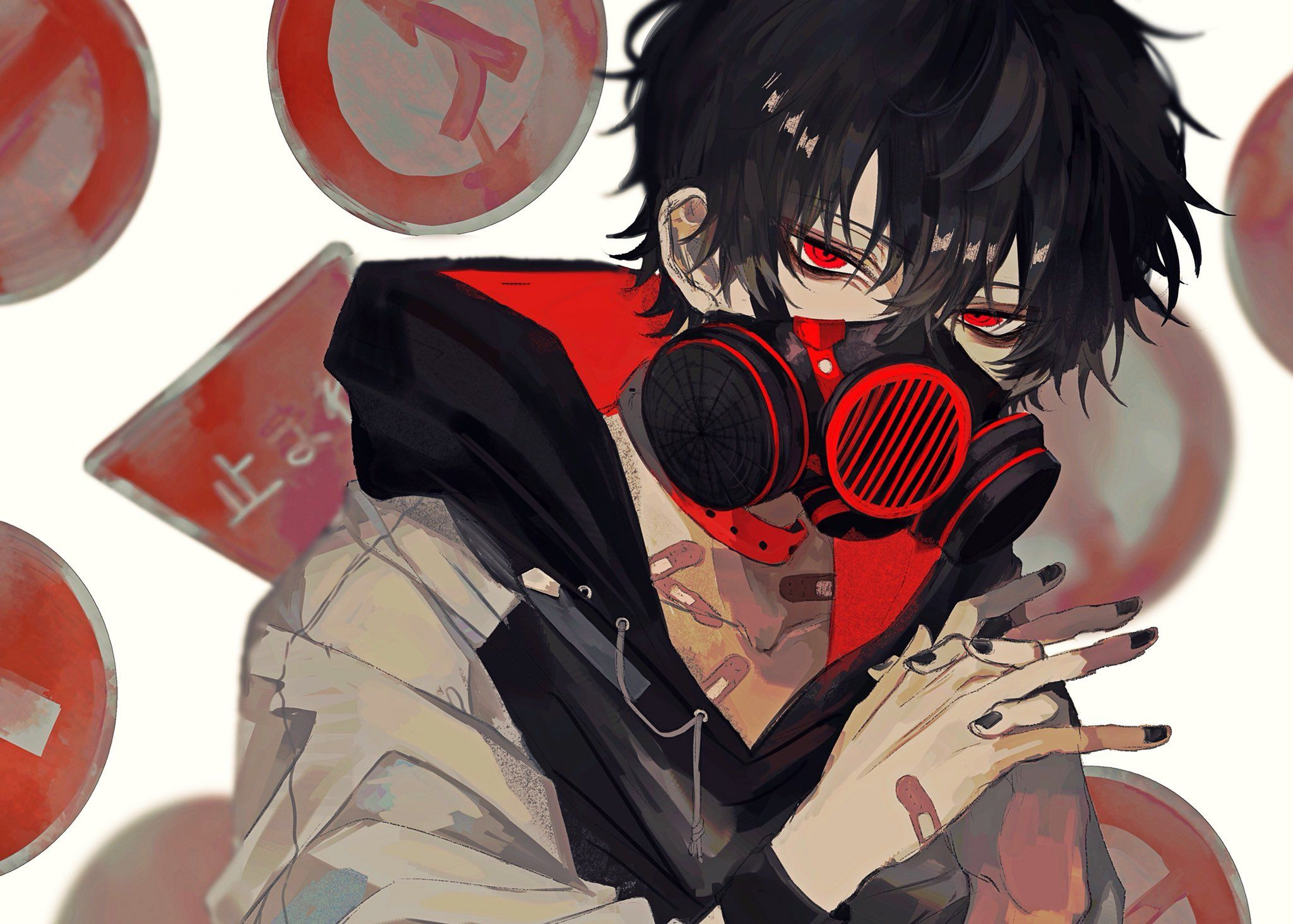 red eyes, road sign, gas masks, hoods, bandage,