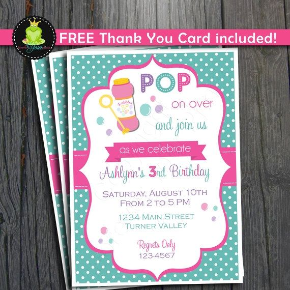 Bubbles Invitation Girls Birthday Party DIY PRINTABLE FILE by – Bubble Invitations Birthday