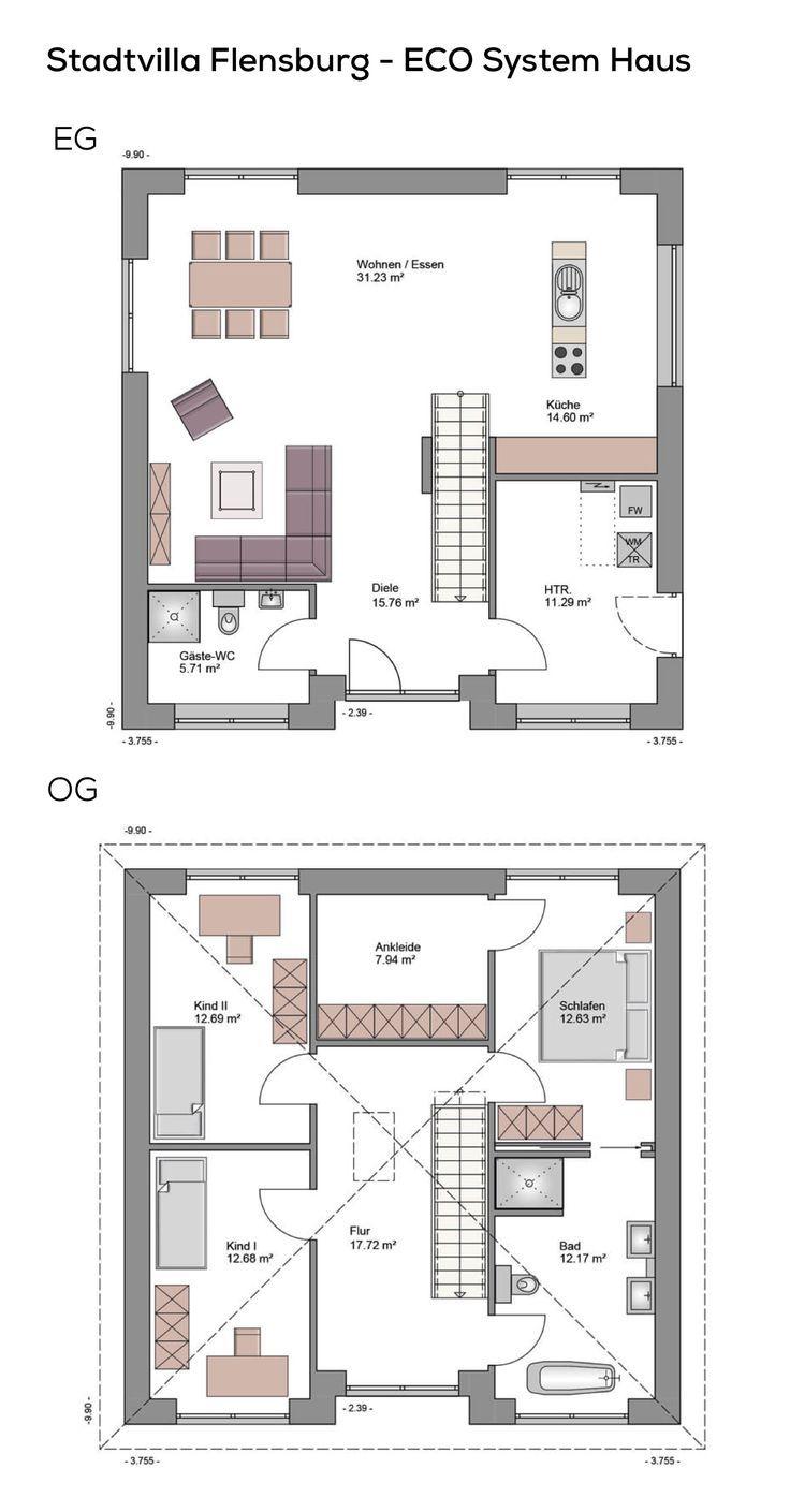 Grundriss stadtvilla quadratisch mit loft charakter klinker fassade 4 zimmer 150 qm wfl - Architektur flensburg ...