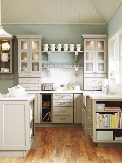 I Love The Grey Cabinets With Smokey Blue Walls Kitchen Inspirations Martha Stewart Living Kitchen Martha Stewart Kitchen