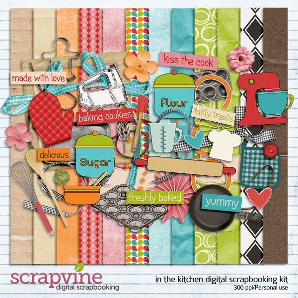 In the Kitchen Digital Scrapbooking Kit | Scrapbook kit, Cooking ...