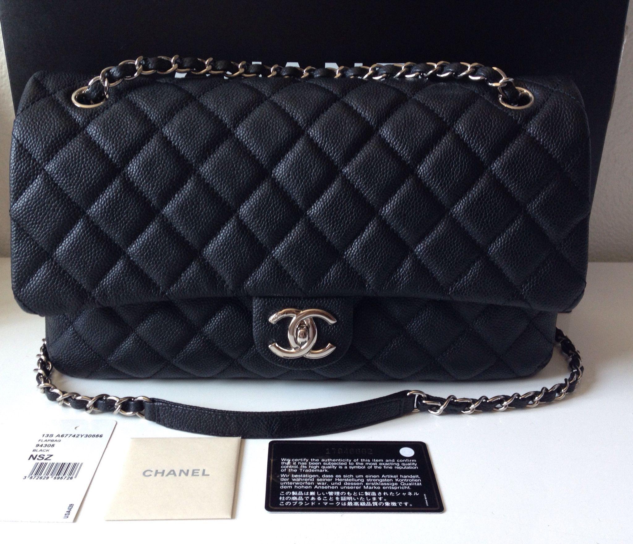 Chanel Classic M/L Caviar Shw Flap Shoulder Bag