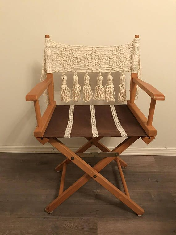 LOCAL PICKUP ONLY- Macrame Directors Chair | Macrame ...