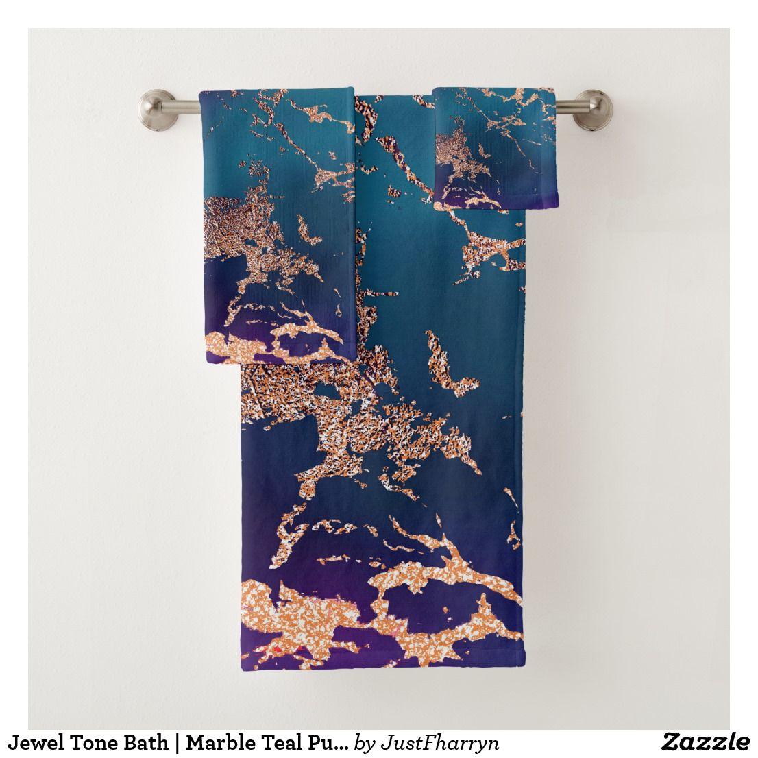 Moody Marble Decor Luxe Deep Purple Teal Gold Bath Towel