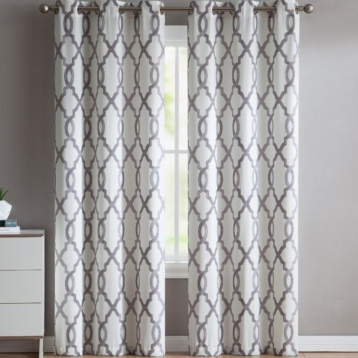 The Gaunt Geometric Semi Opaque Grommet Curtain Panel With Its Pattern Will Make Your