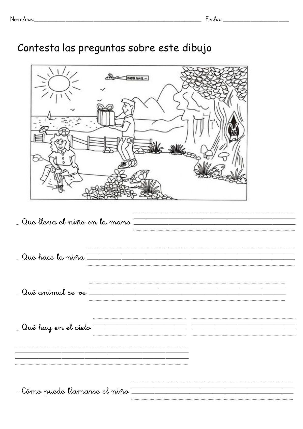 Contesta A Las Preguntas Sobre El Dibujo Spanish Language Arts Dual Language Classroom Writing Activities