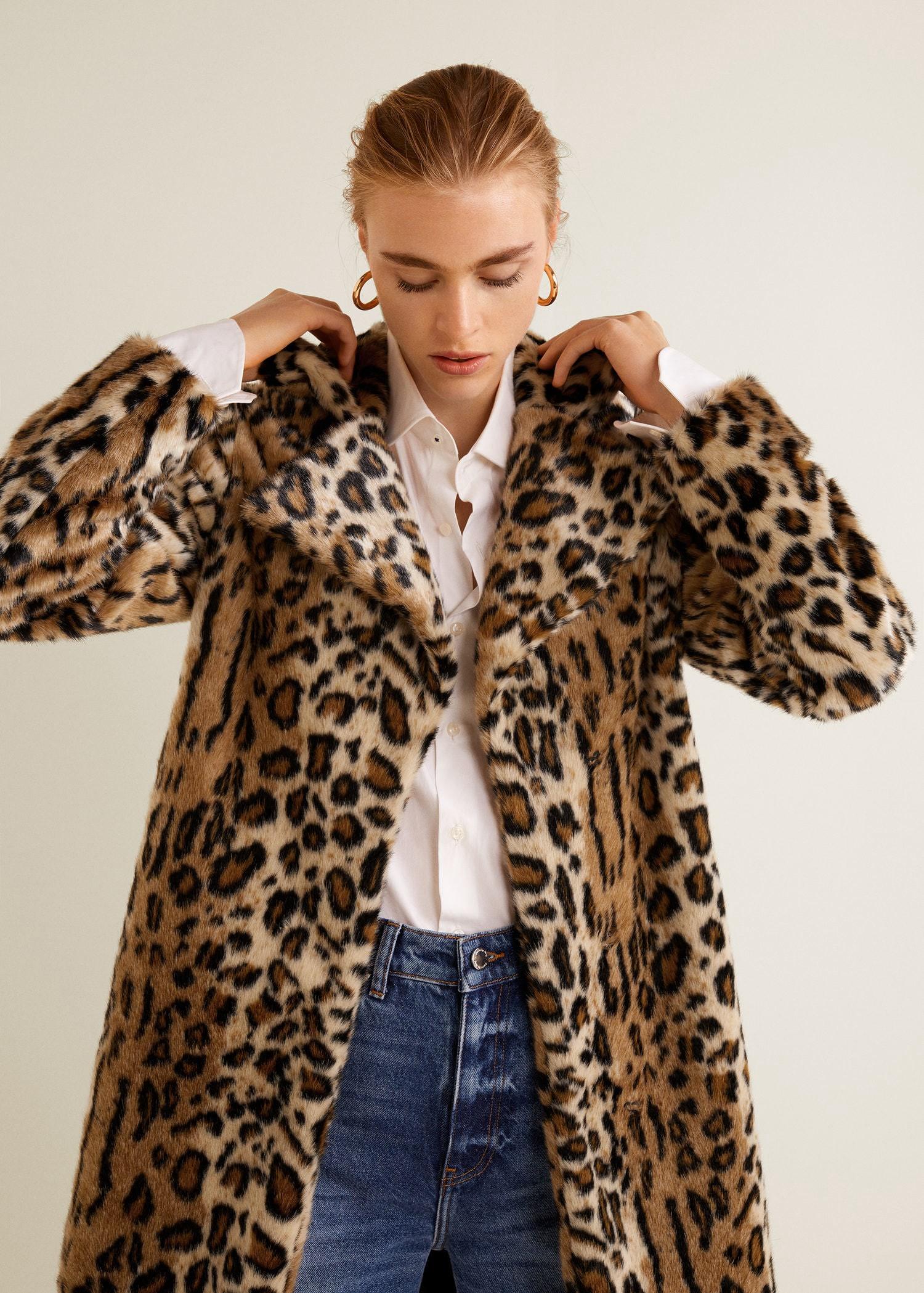 d0a3a753959d Mango Leopard Faux-Fur Coat - XXS   Products   Leopard fur coat, Fur ...