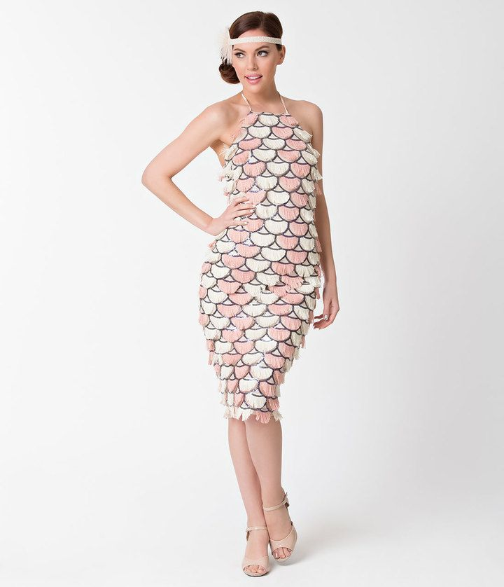 a64bc586f2f Unique Vintage Vintage Style Pink   Cream Scalloped Fringe Flapper Dress