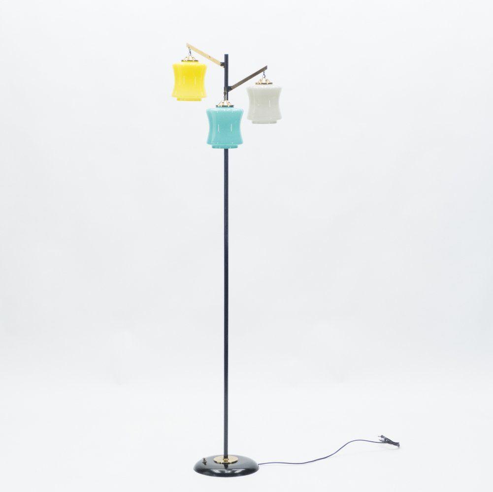 For Sale Mid Century Italian Vistosi Brass Murano Glass Floor Lamp 1950s