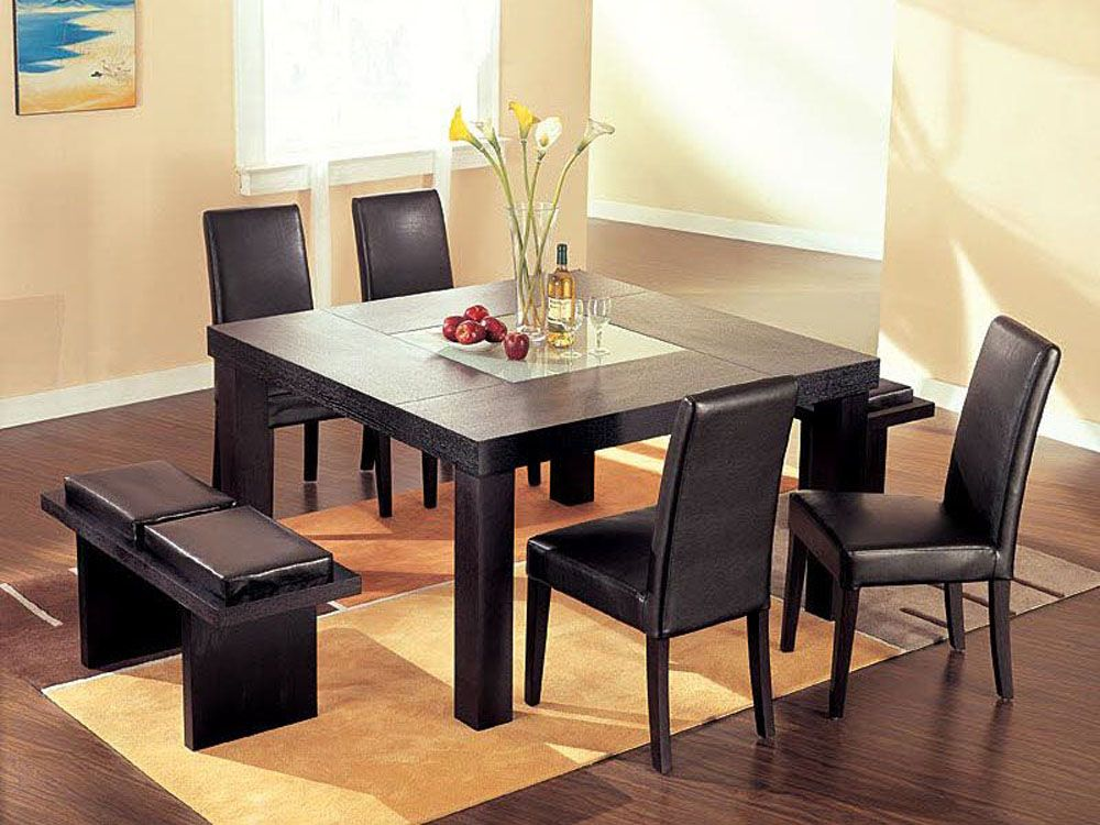 Contemporary Dining Room Furniture Sets Custom High End Sqaure Wood And Frosted Glass Top Leather 5 Pc Kitchen Design Inspiration