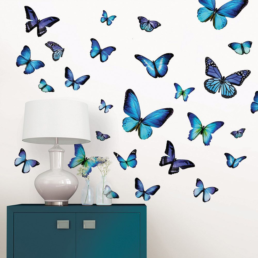 Big Blue Butterfly Wall Decals Butterfly Wall Decals Butterfly