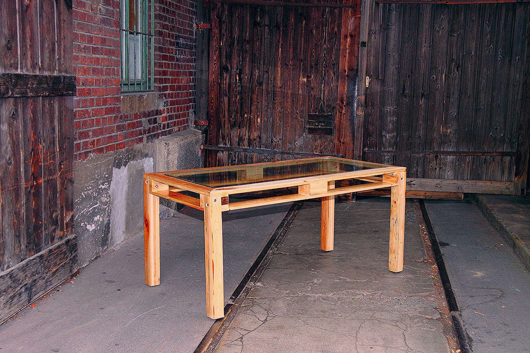 Beautiful Alliance of Steel Glass  Pallets Kessel Desk Pallet Table This is not just the next common table out of pallets Its a composition of disassembled pallets float...