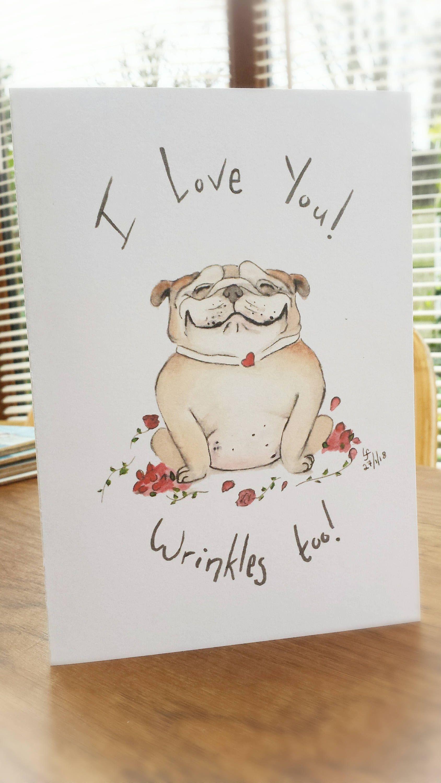 Bulldog Card British Bulldog Love Heart Roses Funny Greetings