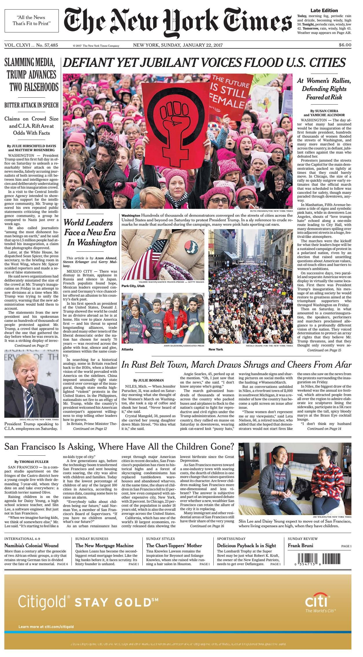 Posts for march page 7 - Women S March January Millions Of Women March In 600 Protests Across The Globe On All 7 Continents The Front Page Of The New York Times January