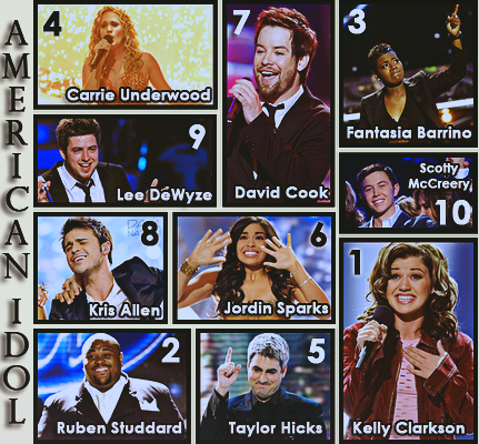 Our 10 American Idols' winning moment.  Kelly Clarkson, Ruben Studdard, Fantasia Barrino, Carrie Underwood, Taylor Hicks, Jordin Sparks, David Cook, Kris Allen, Lee DeWyze, Scotty McCreery. #AmericanIdol