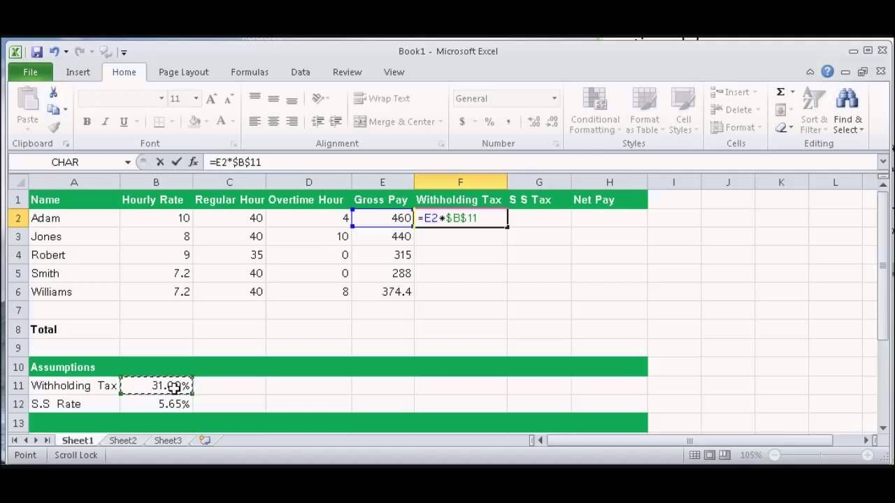 Microsoft Excel 01 Payroll Part 1 How To Enter Data And Create Formulas Payroll Template Good Essay Monthly Calendar Printable