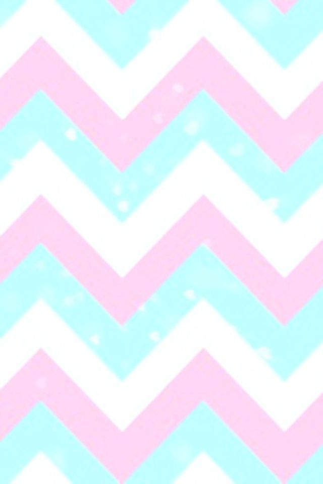 Pink, blue, and white chevron wallpaper pattern.