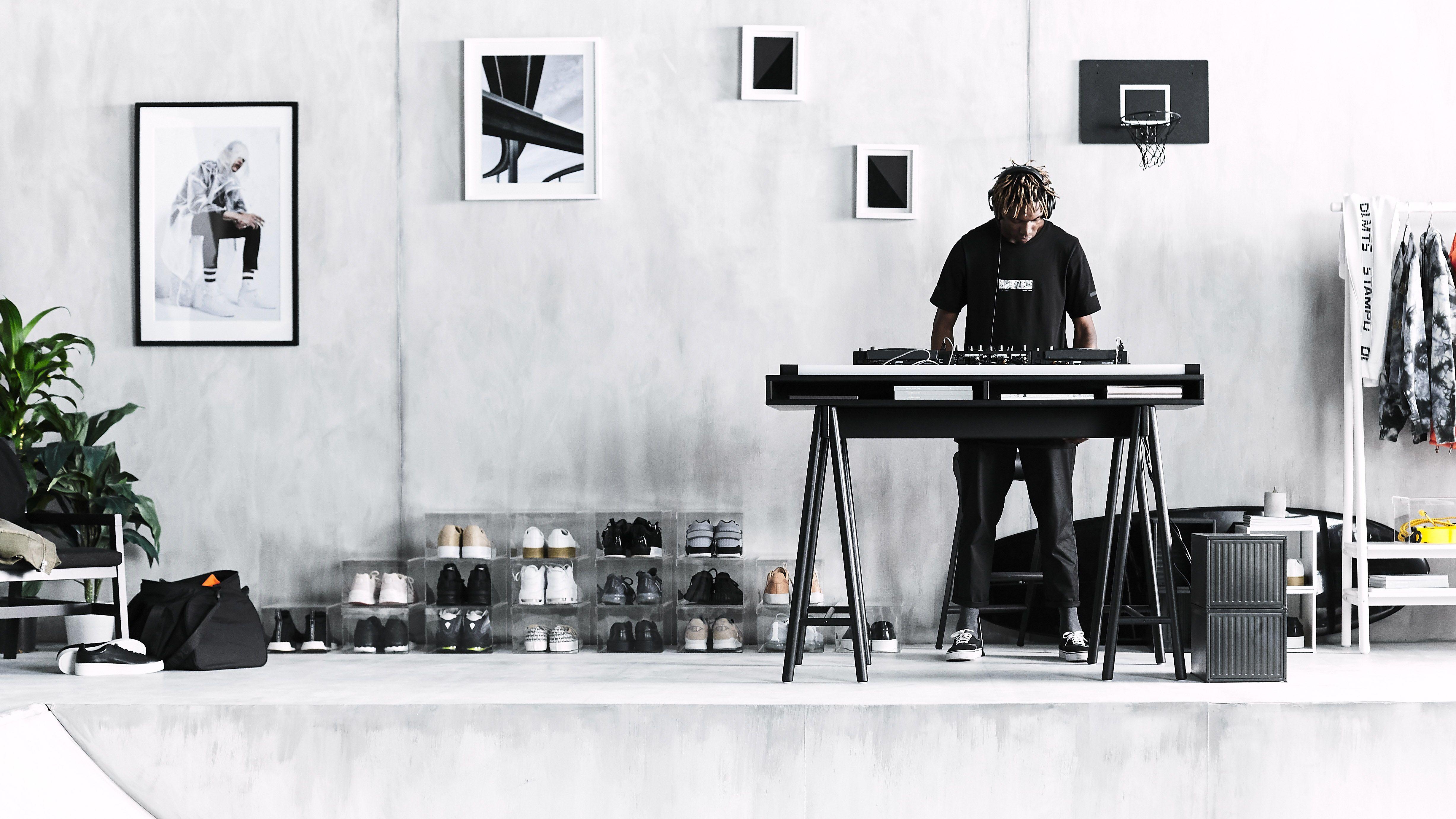 SpÄnst tafelblad met schragen zwart woonkamers